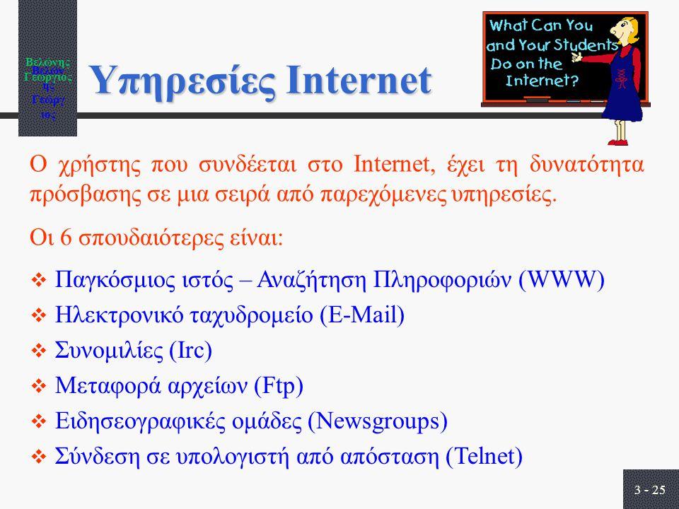 Βελώνης Γεώργιος 3 - 25 Υπηρεσίες Internet  Παγκόσμιος ιστός – Αναζήτηση Πληροφοριών (WWW)  Ηλεκτρονικό ταχυδρομείο (E-Mail)  Συνομιλίες (Irc)  Μεταφορά αρχείων (Ftp)  Ειδησεογραφικές ομάδες (Newsgroups)  Σύνδεση σε υπολογιστή από απόσταση (Telnet) Ο χρήστης που συνδέεται στο Internet, έχει τη δυνατότητα πρόσβασης σε μια σειρά από παρεχόμενες υπηρεσίες.