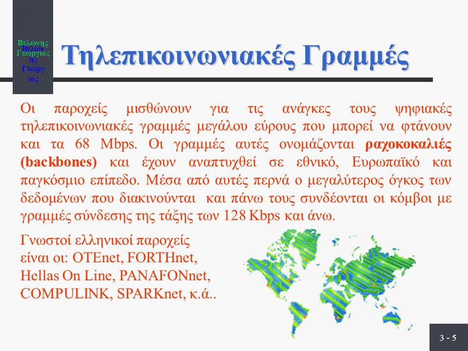 Βελώνης Γεώργιος 3 - 5 Τηλεπικοινωνιακές Γραμμές Οι παροχείς μισθώνουν για τις ανάγκες τους ψηφιακές τηλεπικοινωνιακές γραμμές μεγάλου εύρους που μπορεί να φτάνουν και τα 68 Mbps.