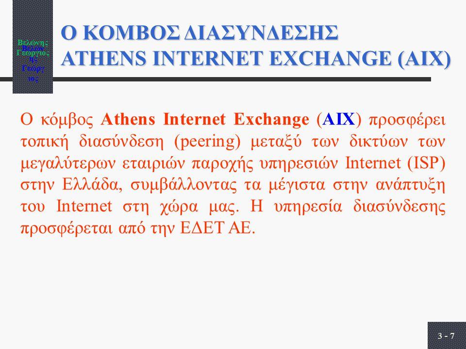 Βελώνης Γεώργιος 3 - 7 Ο ΚΟΜΒΟΣ ΔΙΑΣΥΝΔΕΣΗΣ ATHENS INTERNET EXCHANGE (ΑΙΧ) Ο κόμβος Athens Internet Exchange (AIX) προσφέρει τοπική διασύνδεση (peering) μεταξύ των δικτύων των μεγαλύτερων εταιριών παροχής υπηρεσιών Internet (ISP) στην Ελλάδα, συμβάλλοντας τα μέγιστα στην ανάπτυξη του Internet στη χώρα μας.