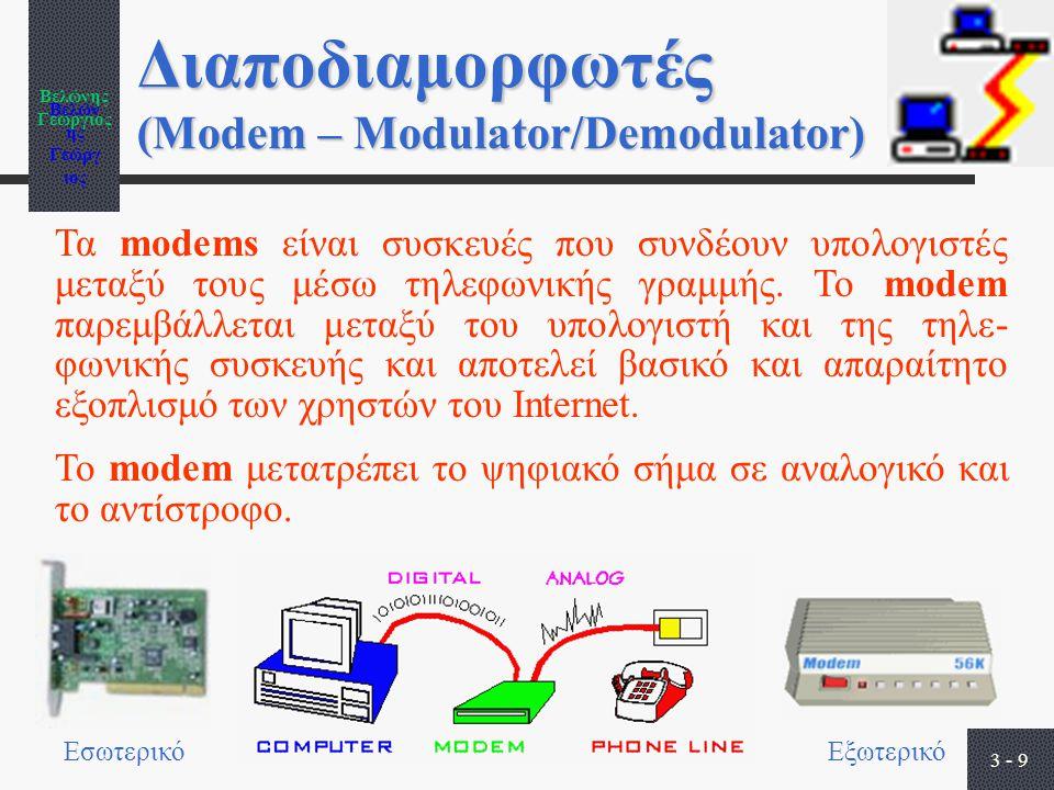 Βελώνης Γεώργιος 3 - 9 Διαποδιαμορφωτές (Modem – Modulator/Demodulator) Τα modems είναι συσκευές που συνδέουν υπολογιστές μεταξύ τους μέσω τηλεφωνικής γραμμής.