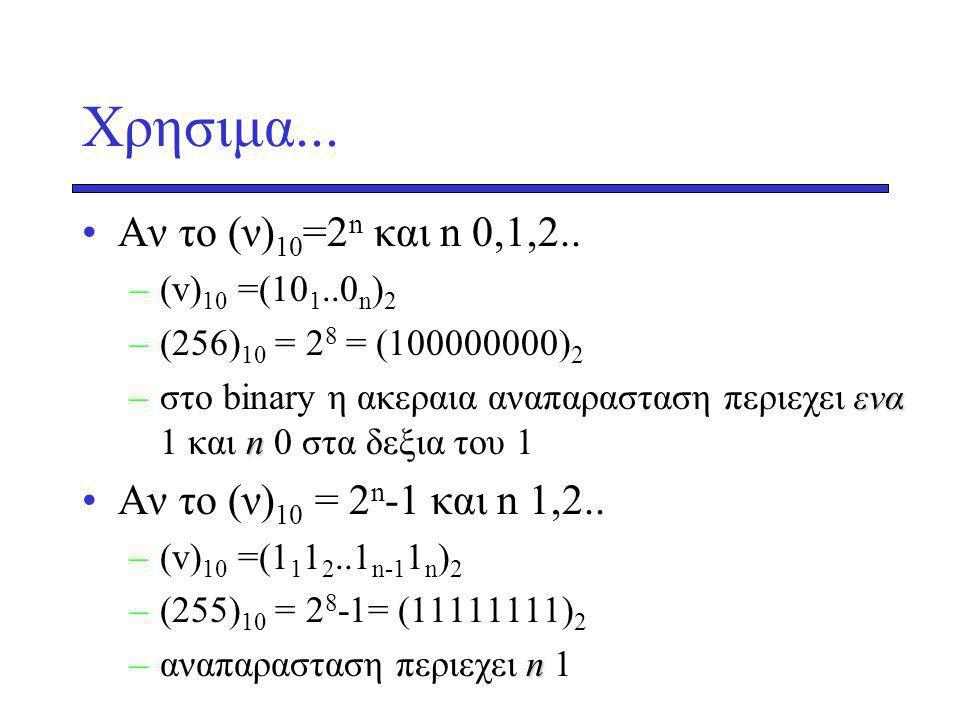 Xρησιμα...Αν το (ν) 10 =2 n και n 0,1,2..