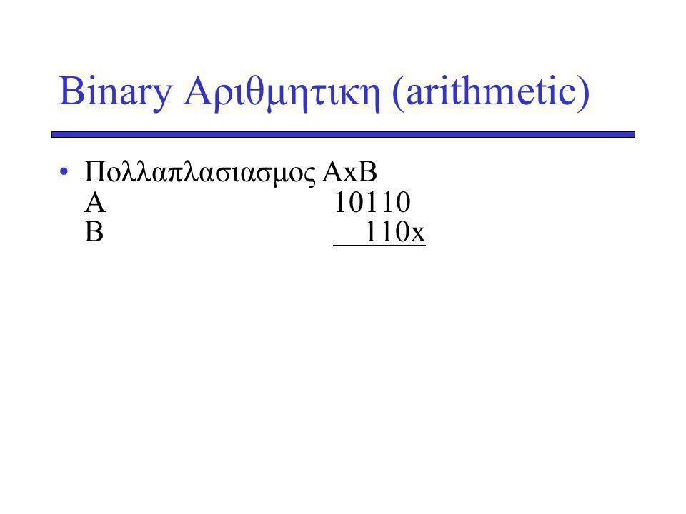 Binary Αριθμητικη (arithmetic) Πολλαπλασιασμος AxB Α10110 Β 110x