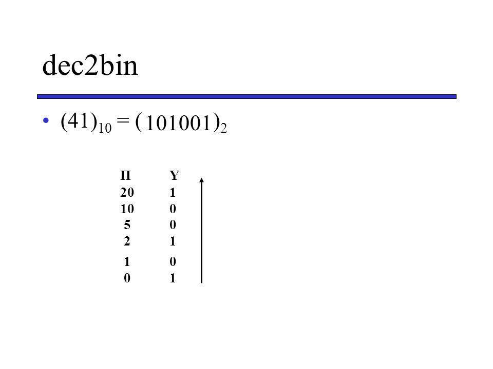 dec2bin (41) 10 = ( ) 2 ΠΥ 201 100 50 21 10 01 101001