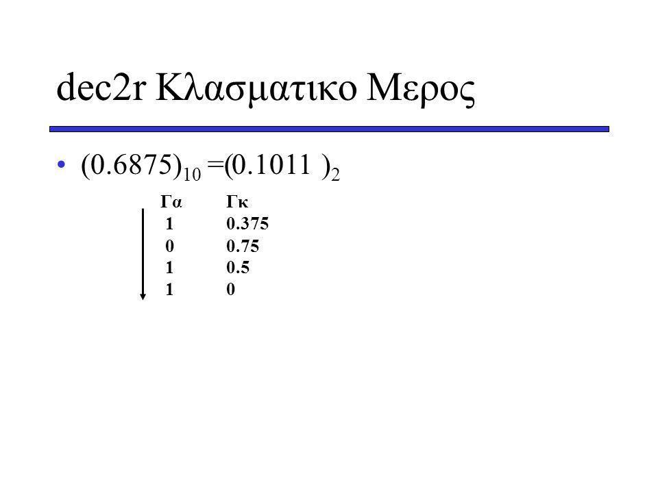 dec2r Κλασματικο Μερος (0.6875) 10 =( ) 2 ΓαΓκ 10.375 00.75 10.5 10 0.1011