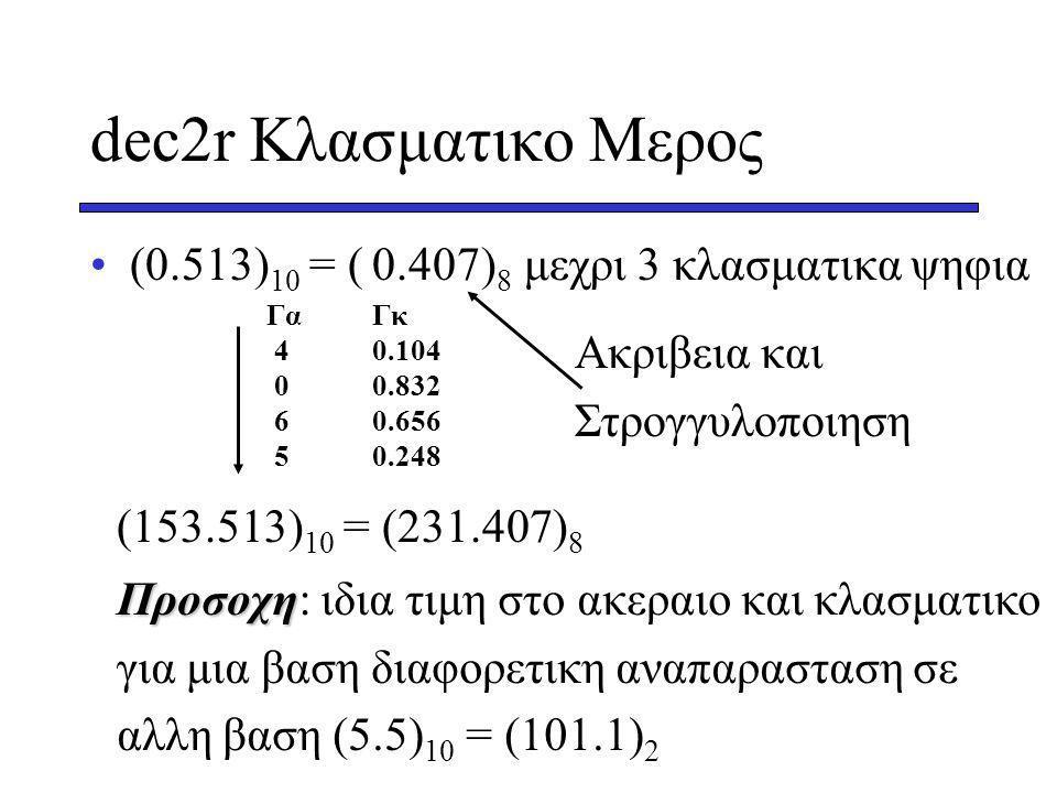 dec2r Κλασματικο Μερος (0.513) 10 = ( ) 8 μεχρι 3 κλασματικα ψηφια ΓαΓκ 40.104 00.832 60.656 50.248 0.407 Ακριβεια και Στρογγυλοποιηση (153.513) 10 = (231.407) 8 Προσοχη Προσοχη: ιδια τιμη στο ακεραιο και κλασματικο για μια βαση διαφορετικη αναπαρασταση σε αλλη βαση (5.5) 10 = (101.1) 2