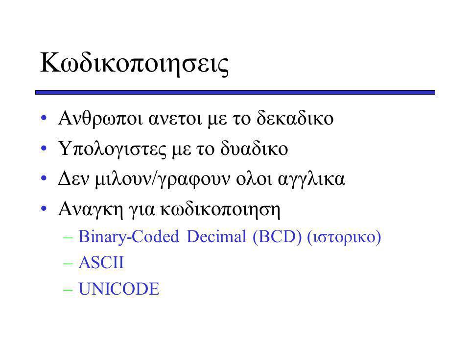 Κωδικοποιησεις Aνθρωποι ανετοι με το δεκαδικο Υπολογιστες με το δυαδικο Δεν μιλουν/γραφουν ολοι αγγλικα Αναγκη για κωδικοποιηση –Βinary-Coded Decimal (BCD) (ιστορικο) –ASCII –UNICODE