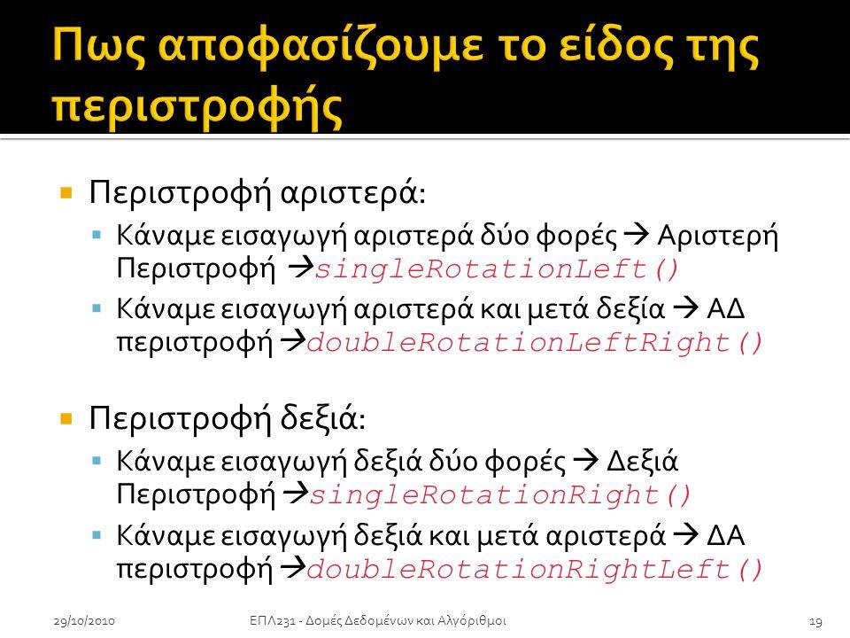  Περιστροφή αριστερά:  Κάναμε εισαγωγή αριστερά δύο φορές  Αριστερή Περιστροφή  singleRotationLeft()  Κάναμε εισαγωγή αριστερά και μετά δεξία  ΑΔ περιστροφή  doubleRotationLeftRight()  Περιστροφή δεξιά:  Κάναμε εισαγωγή δεξιά δύο φορές  Δεξιά Περιστροφή  singleRotationRight()  Κάναμε εισαγωγή δεξιά και μετά αριστερά  ΔΑ περιστροφή  doubleRotationRightLeft() 29/10/201019ΕΠΛ231 - Δομές Δεδομένων και Αλγόριθμοι