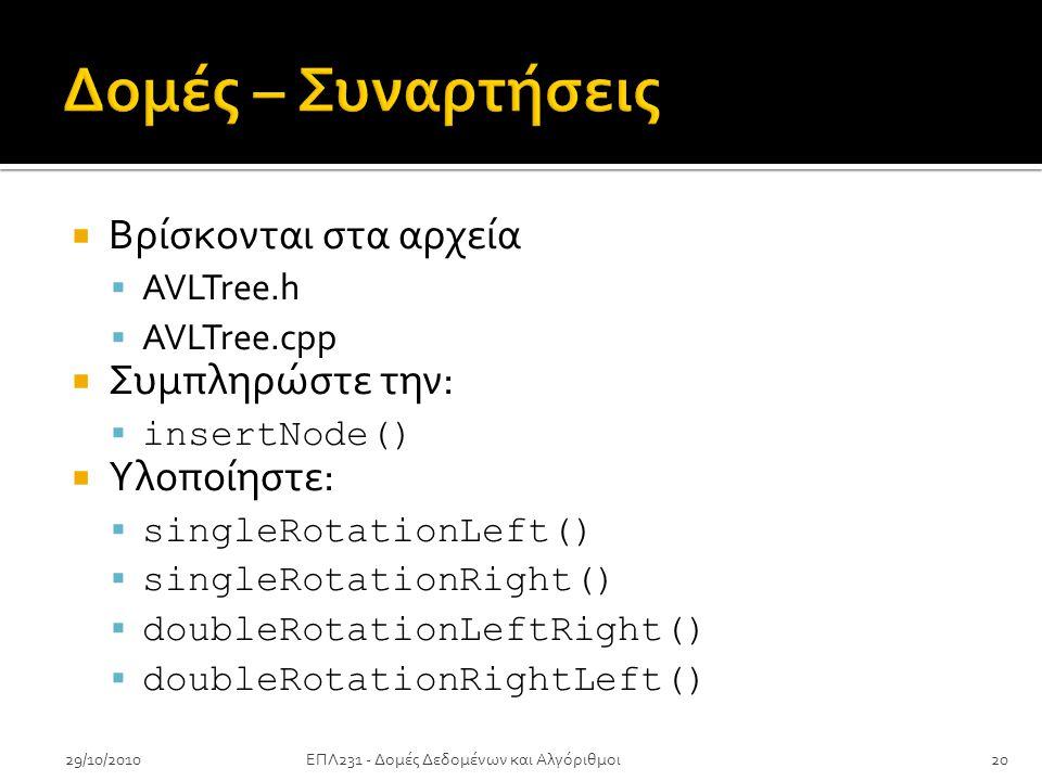  Βρίσκονται στα αρχεία  AVLTree.h  AVLTree.cpp  Συμπληρώστε την:  insertNode()  Υλοποίηστε:  singleRotationLeft()  singleRotationRight()  doubleRotationLeftRight()  doubleRotationRightLeft() 29/10/201020ΕΠΛ231 - Δομές Δεδομένων και Αλγόριθμοι
