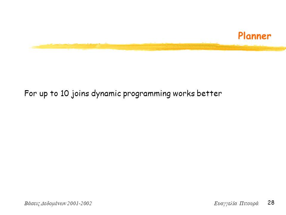 Βάσεις Δεδομένων 2001-2002 Ευαγγελία Πιτουρά 28 Planner For up to 10 joins dynamic programming works better