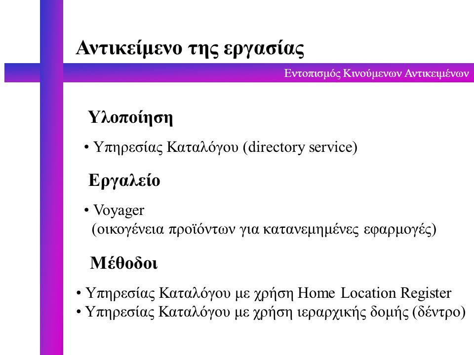 Εντοπισμός Κινούμενων Αντικειμένων Αντικείμενο της εργασίας Υλοποίηση Υπηρεσίας Καταλόγου (directory service) Εργαλείο Voyager (οικογένεια προϊόντων για κατανεμημένες εφαρμογές) Μέθοδοι Υπηρεσίας Καταλόγου με χρήση Home Location Register Υπηρεσίας Καταλόγου με χρήση ιεραρχικής δομής (δέντρο)