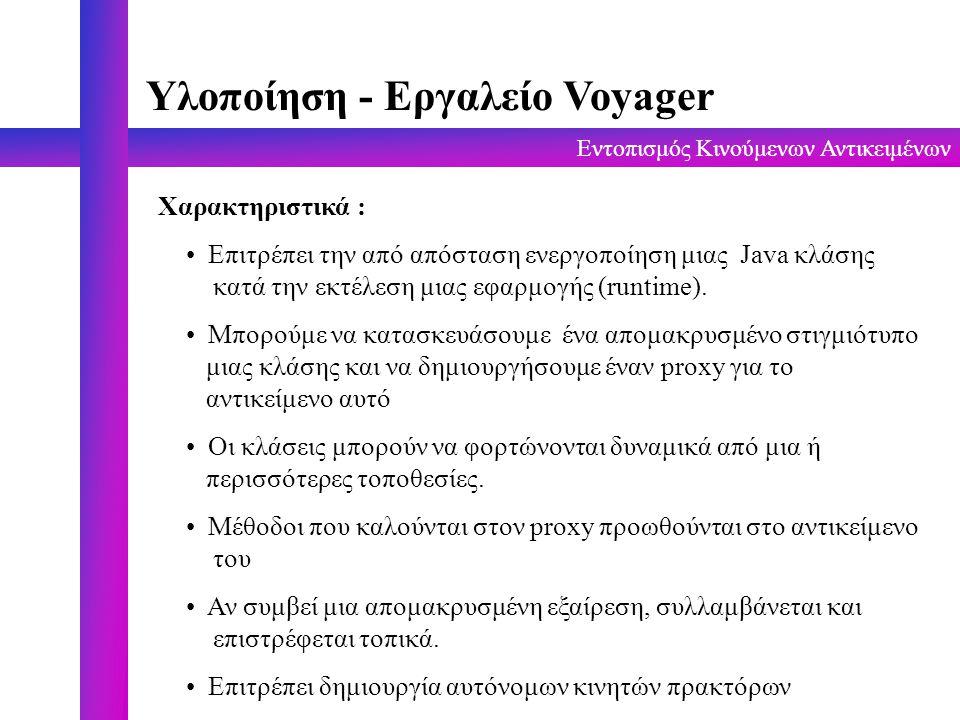 Εντοπισμός Κινούμενων Αντικειμένων Παράδειγμα εφαρμογής - Κώδικας import com.objectspace.voyager.*; import com.objectspace.voyager.directory.*; public class naming_test { public static void main( String[] args ) { try { Voyager.startup(); // δημιουργία καταλόγου αρχικών ονομάτων String dirClass=Directory.class.getName(); IDirectory symbols=(IDirectory)Factory.create(dirClass, //pontus:8000 ); symbols.put( CV , costas voglis ); symbols.put( MT , markos tsipouras ); // δημιουργία 2ου καταλόγου root IDirectory root=(IDirectory)Factory.create(dirClass, //halimedes:9000 ); root.put( symbols ,symbols); // πρόσβαση στο symbols από το root System.out.println( CV -> + root.get( symbols/CV )); System.out.println( MT -> + root.get( symbols/MT )); root.remove( symbols/MT ); System.out.println( MT -> + root.get( symbols/MT )); } catch( Exception exception ) { System.err.println( exception ); } Voyager.shutdown(); } }