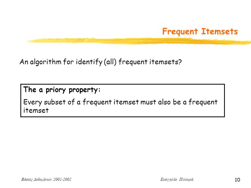 Βάσεις Δεδομένων 2001-2002 Ευαγγελία Πιτουρά 10 Frequent Itemsets An algorithm for identify (all) frequent itemsets.