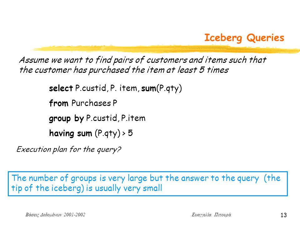 Βάσεις Δεδομένων 2001-2002 Ευαγγελία Πιτουρά 13 Iceberg Queries Assume we want to find pairs of customers and items such that the customer has purchased the item at least 5 times select P.custid, P.