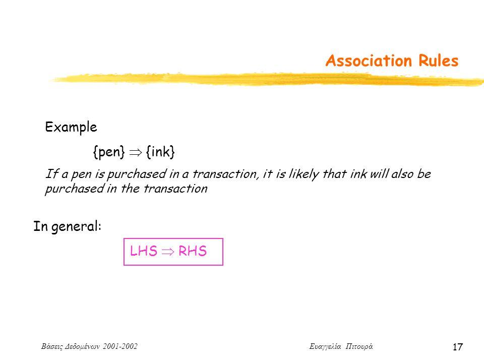 Βάσεις Δεδομένων 2001-2002 Ευαγγελία Πιτουρά 17 Association Rules Example {pen}  {ink} If a pen is purchased in a transaction, it is likely that ink will also be purchased in the transaction In general: LHS  RHS