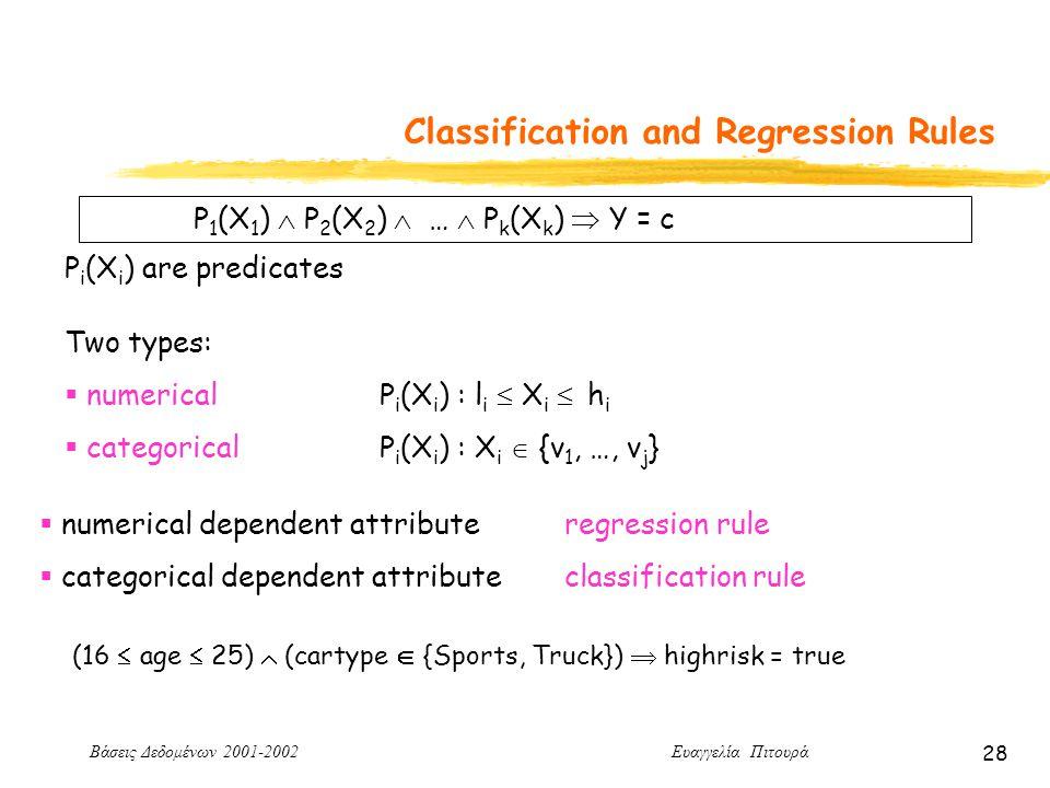 Βάσεις Δεδομένων 2001-2002 Ευαγγελία Πιτουρά 28 Classification and Regression Rules P 1 (X 1 )  P 2 (X 2 )  …  P k (X k )  Y = c P i (X i ) are predicates Two types:  numerical P i (X i ) : l i  X i  h i  categoricalP i (X i ) : X i  {v 1, …, v j }  numerical dependent attributeregression rule  categorical dependent attributeclassification rule (16  age  25)  (cartype  {Sports, Truck})  highrisk = true