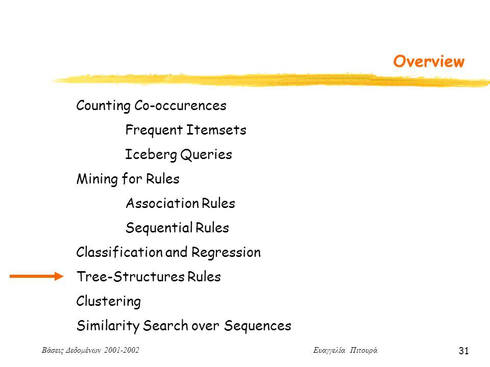 Βάσεις Δεδομένων 2001-2002 Ευαγγελία Πιτουρά 31 Overview Counting Co-occurences Frequent Itemsets Iceberg Queries Mining for Rules Association Rules Sequential Rules Classification and Regression Tree-Structures Rules Clustering Similarity Search over Sequences