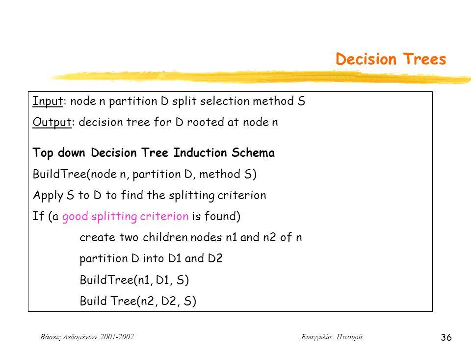 Βάσεις Δεδομένων 2001-2002 Ευαγγελία Πιτουρά 36 Decision Trees Input: node n partition D split selection method S Output: decision tree for D rooted at node n Top down Decision Tree Induction Schema BuildTree(node n, partition D, method S) Apply S to D to find the splitting criterion If (a good splitting criterion is found) create two children nodes n1 and n2 of n partition D into D1 and D2 BuildTree(n1, D1, S) Build Tree(n2, D2, S)