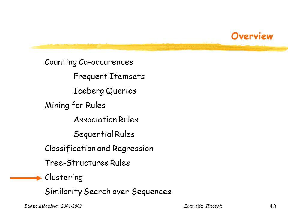 Βάσεις Δεδομένων 2001-2002 Ευαγγελία Πιτουρά 43 Overview Counting Co-occurences Frequent Itemsets Iceberg Queries Mining for Rules Association Rules Sequential Rules Classification and Regression Tree-Structures Rules Clustering Similarity Search over Sequences