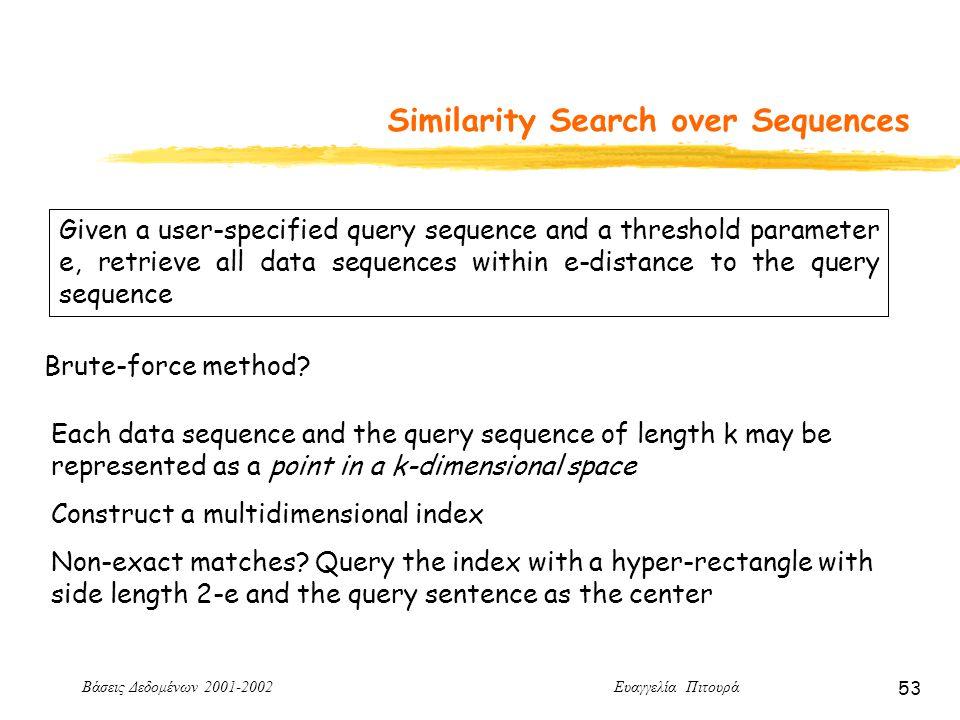 Βάσεις Δεδομένων 2001-2002 Ευαγγελία Πιτουρά 53 Similarity Search over Sequences Given a user-specified query sequence and a threshold parameter e, retrieve all data sequences within e-distance to the query sequence Brute-force method.