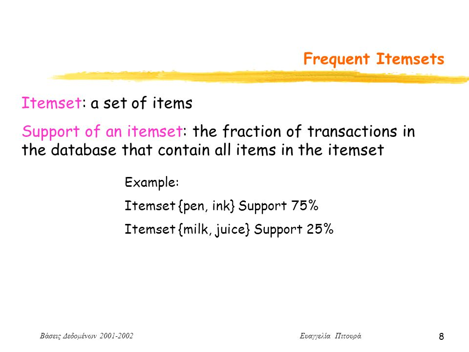 Βάσεις Δεδομένων 2001-2002 Ευαγγελία Πιτουρά 9 Frequent Itemsets Example: If minsup = 70%, Frequent Itemsets {pen}, {ink}, {milk}, {pen, ink}, {pen, milk} Frequent Itemsets: itemsets whose support is higher than a user specified minimum support called minsup