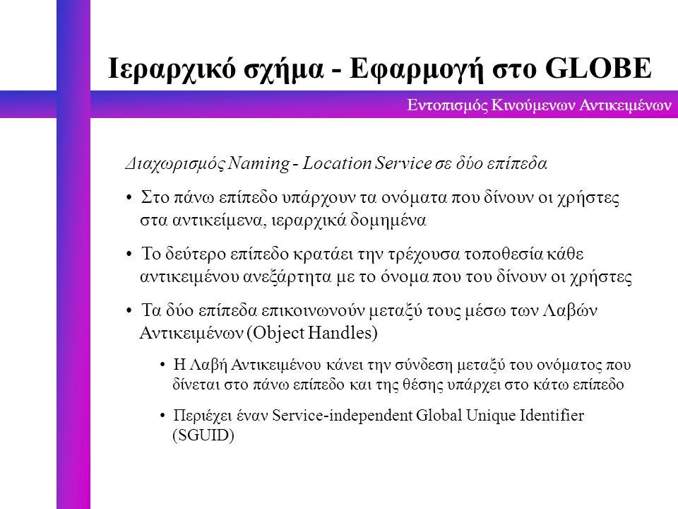 Εντοπισμός Κινούμενων Αντικειμένων Ιεραρχικό σχήμα - Εφαρμογή στο GLOBE Διαχωρισμός Naming - Location Service σε δύο επίπεδα Στο πάνω επίπεδο υπάρχουν