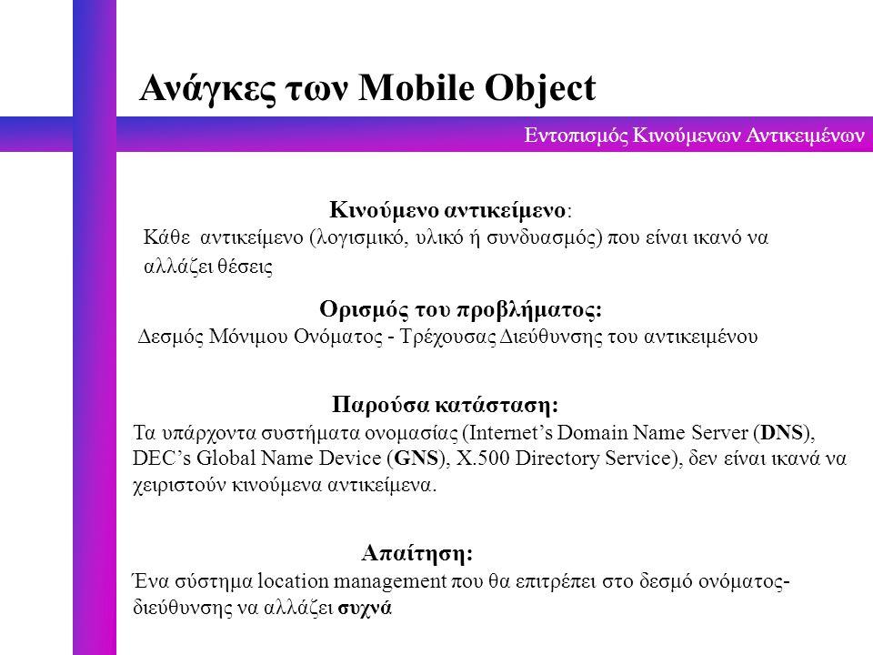 Εντοπισμός Κινούμενων Αντικειμένων Χειρισμός Θέσης (Location Management) Δύο βασικές λειτουργίες : Αναζήτηση (lookup) Ενημέρωση (update) Oι τεχνικές που έχουν χρησιμοποιηθεί για αποθήκευση πληροφορίας θέσης, βρίσκονται ανάμεσα σε δυο άκρα : Ακριβής πληροφορία για κάθε κινούμενο αντικείμενο υπάρχει σε σε κάθε θέση του δικτύου (κόστος αλλαγών, σπατάλη χώρου, γρήγορη αναζήτηση) Καμία πληροφορία δεν αποθηκεύεται στο δίκτυο(πολύ αργή αναζήτηση) Οι διάφορες τεχνικές συμβιβάζονται όσο αφορά : Διαθεσιμότητα (Πληροφορία σε όλα τα sites, σε κάποια ή σε κανένα) Ανακρίβεια (Γνωρίζουμε την ακριβή διεύθυνση του αντικειμένου ή μια περιοχή που βρίσκεται) Αμεσότητα (Οι εγγραφές ανανεώνονται με την μετακίνηση του αντικειμένου ή περιοδικά)