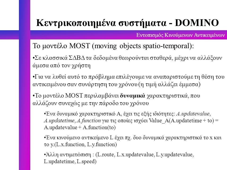 Εντοπισμός Κινούμενων Αντικειμένων Κεντρικοποιημένα συστήματα - DOMINO To μοντέλο MOST (moving objects spatio-temporal): Σε κλασσικά ΣΔΒΔ τα δεδομένα