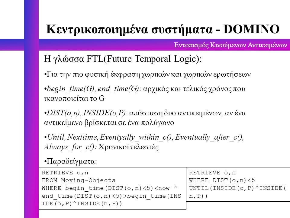 Εντοπισμός Κινούμενων Αντικειμένων Κεντρικοποιημένα συστήματα - DOMINO H γλώσσα FTL(Future Temporal Logic): Για την πιο φυσική έκφραση χωρικών και χωρ