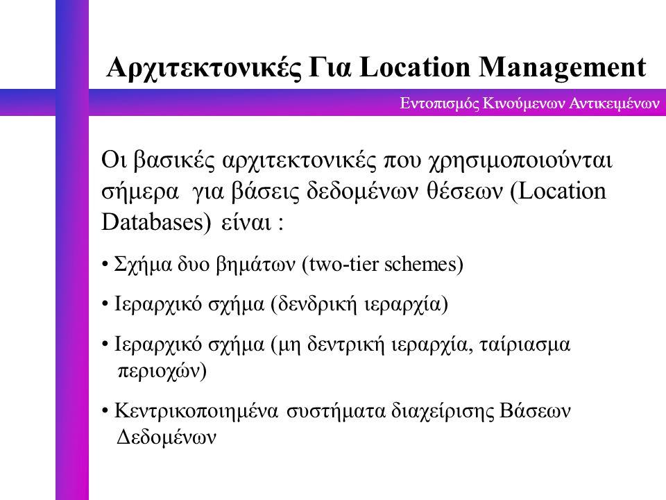 Εντοπισμός Κινούμενων Αντικειμένων Αρχιτεκτονικές Για Location Management Οι βασικές αρχιτεκτονικές που χρησιμοποιούνται σήμερα για βάσεις δεδομένων θ