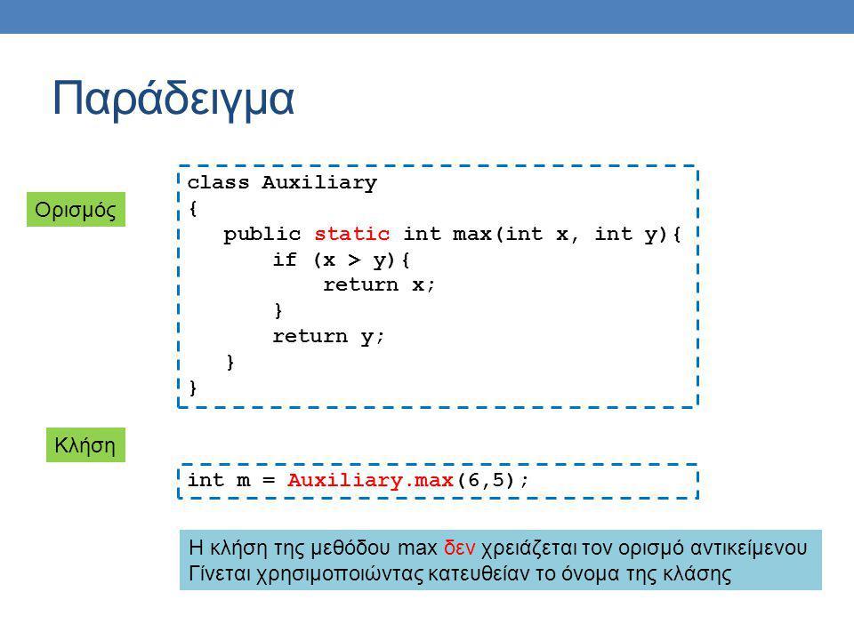 Στατικές μέθοδοι και μεταβλητές Έχετε ήδη χρησιμοποιήσει στατικές μεθόδους και μεταβλητές σε διάφορες περιπτώσεις Παραδείγματα System.out: στατικό πεδίο της κλάσης System, το οποίο κρατάει ένα PrintStream με το οποίο μπορούμε γράψουμε στην οθόνη.