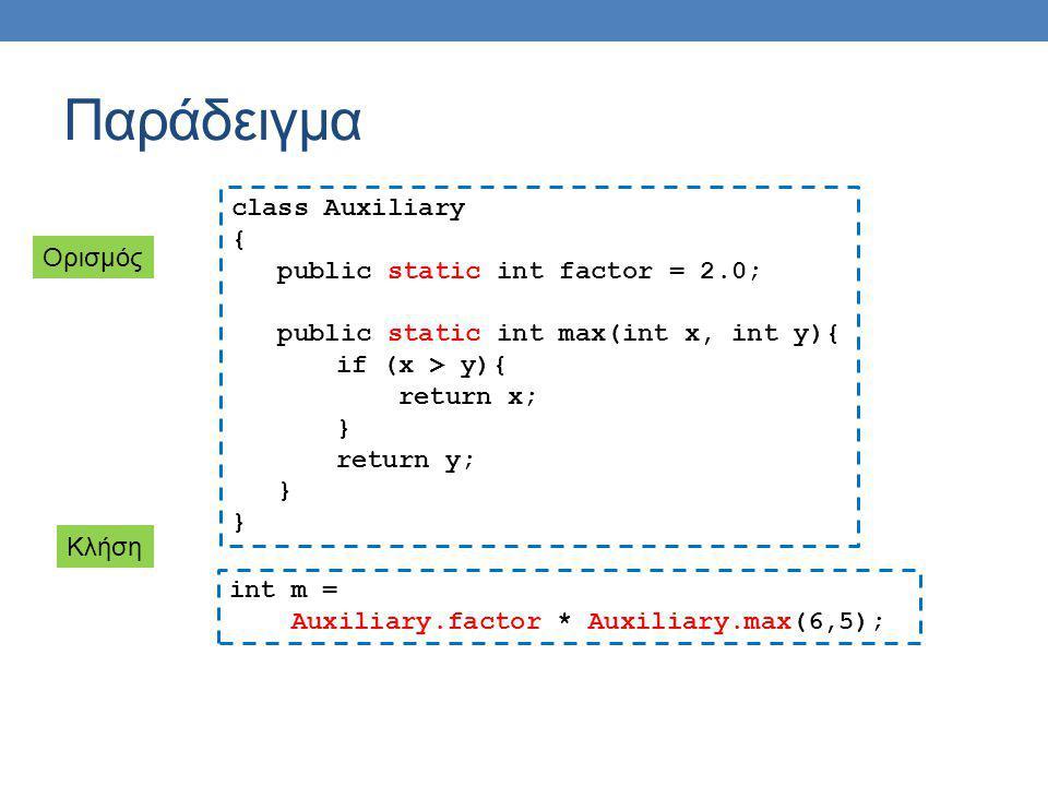 Παράδειγμα class Auxiliary { public static int factor = 2.0; public static int max(int x, int y){ if (x > y){ return x; } return y; } int m = Auxiliar