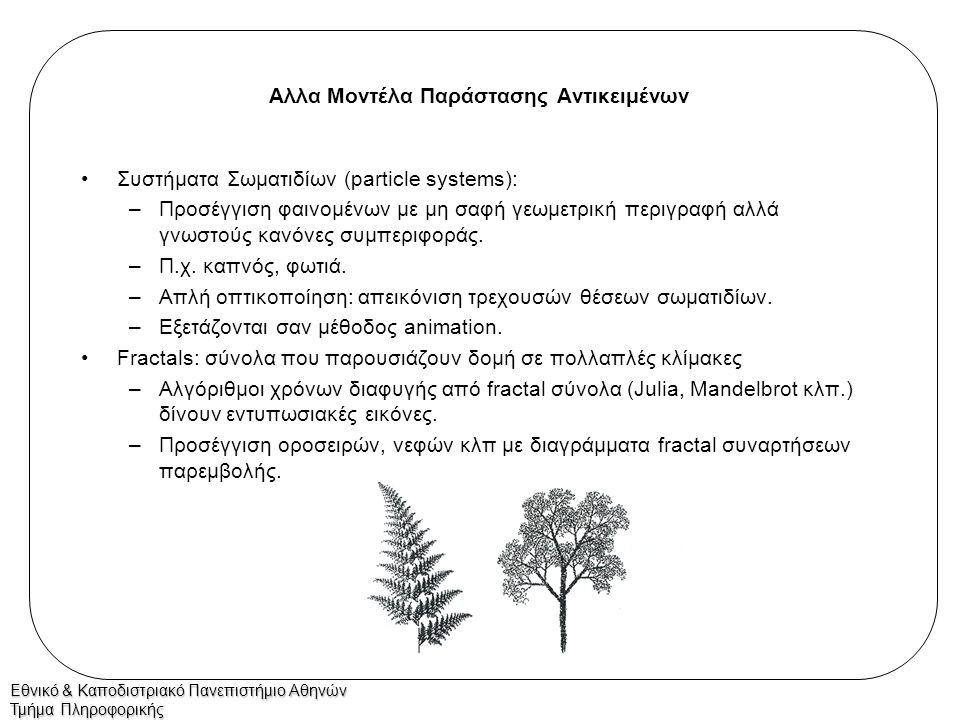 Εθνικό & Καποδιστριακό Πανεπιστήμιο Αθηνών Τμήμα Πληροφορικής Αλλα Μοντέλα Παράστασης Αντικειμένων Συστήματα Σωματιδίων (particle systems): –Προσέγγισ