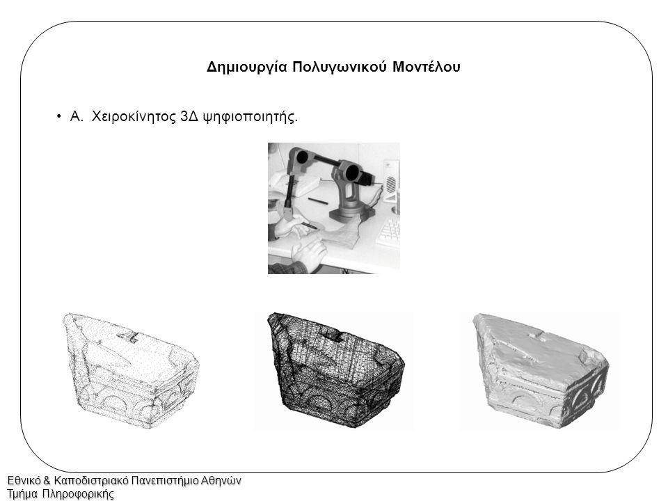 Εθνικό & Καποδιστριακό Πανεπιστήμιο Αθηνών Τμήμα Πληροφορικής Δημιουργία Πολυγωνικού Μοντέλου Β.Αυτόματος 3Δ ψηφιοποιητής: –Περιστροφή αντικειμένου.