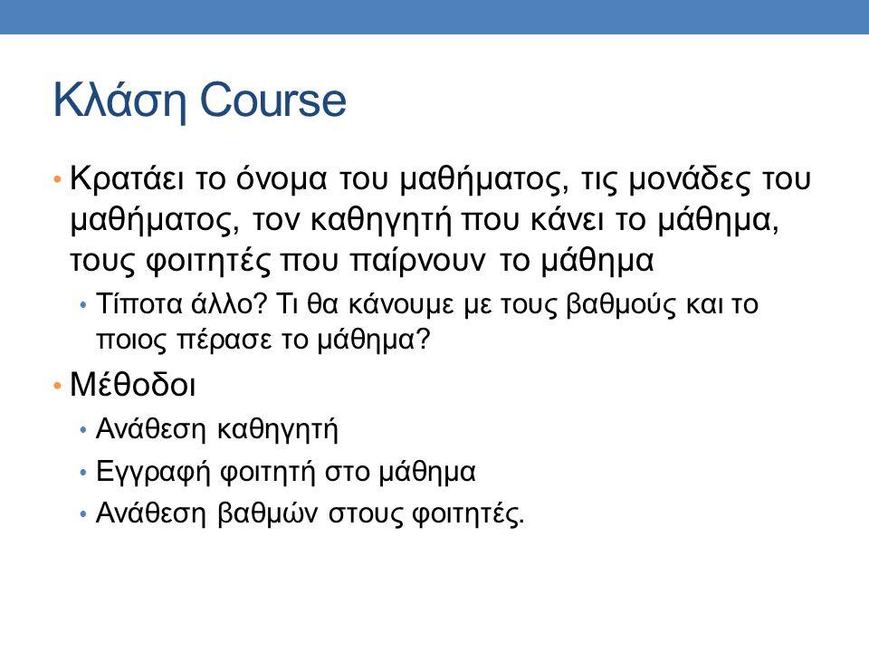 Κλάση Course Κρατάει το όνομα του μαθήματος, τις μονάδες του μαθήματος, τον καθηγητή που κάνει το μάθημα, τους φοιτητές που παίρνουν το μάθημα Τίποτα άλλο.