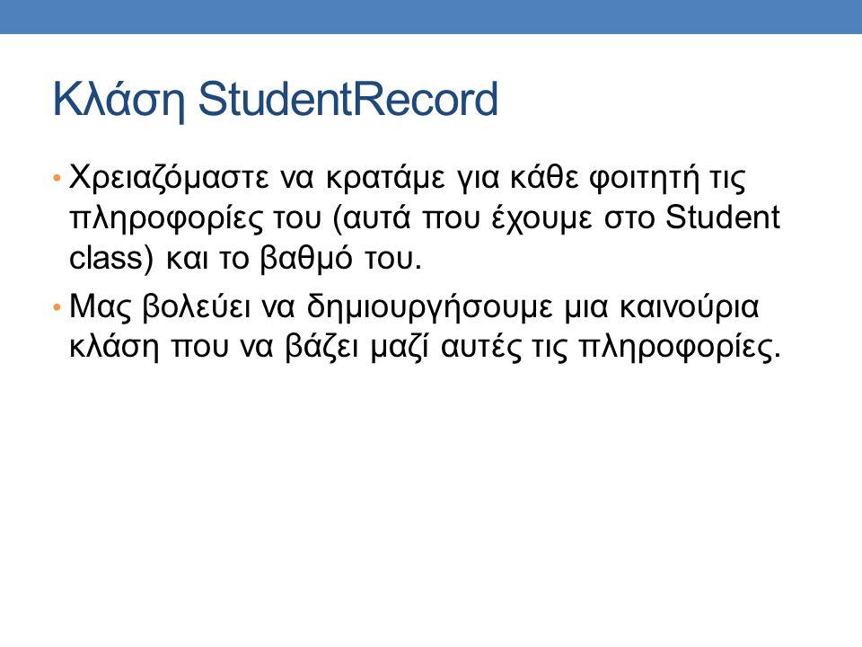 Κλάση StudentRecord Χρειαζόμαστε να κρατάμε για κάθε φοιτητή τις πληροφορίες του (αυτά που έχουμε στο Student class) και το βαθμό του.