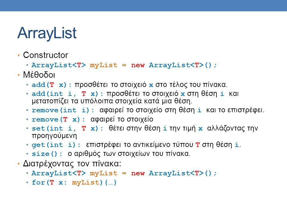 ArrayList Constructor ArrayList myList = new ArrayList (); Μέθοδοι add(T x): προσθέτει το στοιχειό x στο τέλος του πίνακα. add(int i, T x): προσθέτει