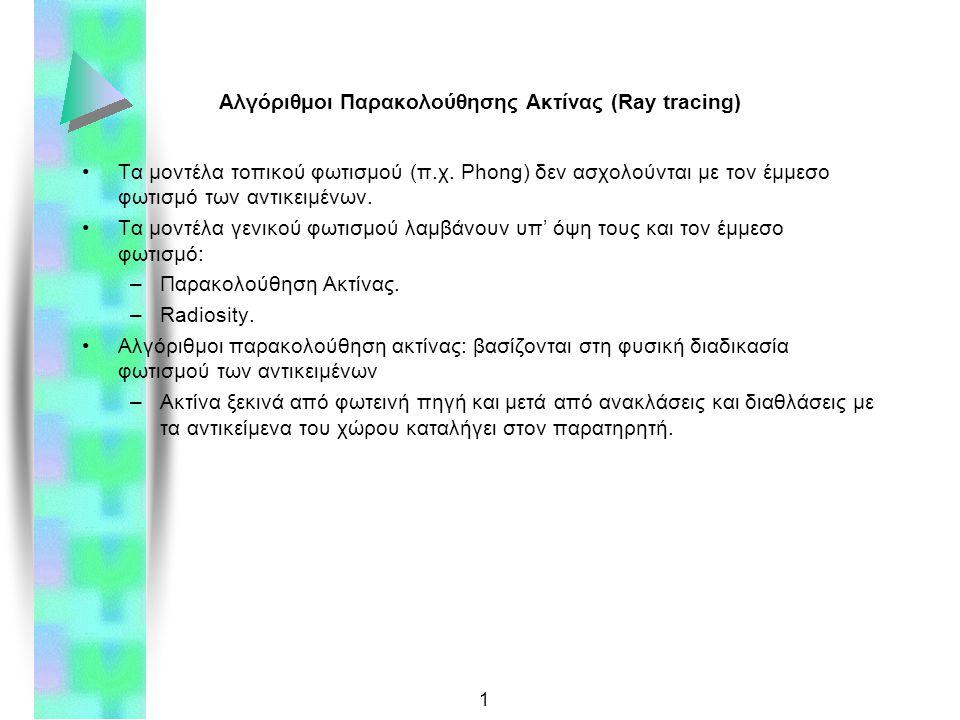 1 Αλγόριθμοι Παρακολούθησης Ακτίνας (Ray tracing) Τα μοντέλα τοπικού φωτισμού (π.χ.