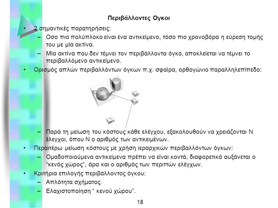 18 Περιβάλλοντες Ογκοι 2 σημαντικές παρατηρήσεις: –Οσο πιο πολύπλοκο είναι ένα αντικείμενο, τόσο πιο χρονοβόρα η εύρεση τομής του με μία ακτίνα.