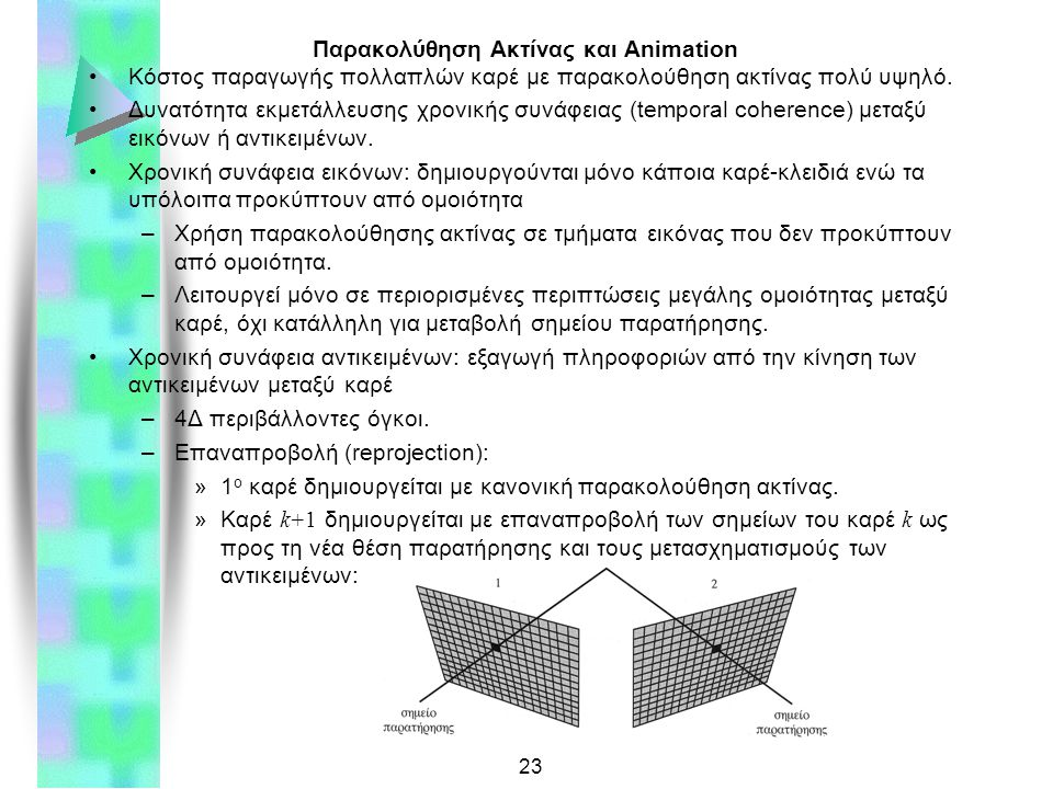 23 Παρακολύθηση Ακτίνας και Animation Κόστος παραγωγής πολλαπλών καρέ με παρακολούθηση ακτίνας πολύ υψηλό.