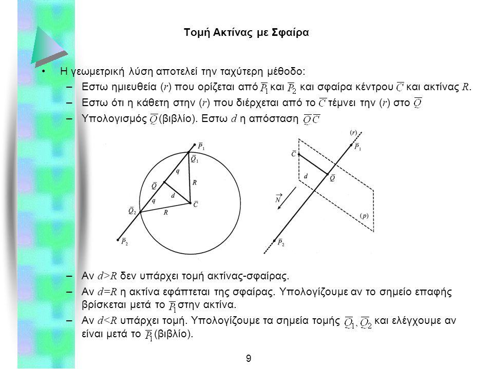 10 Τομή Ακτίνας με Πολύγωνο Πολύγωνο: το πιο διαδεδομένο στοιχείο παράστασης αντικειμένων –Βήμα 1: Εύρεση τομής ακτίνας ( r ) με άκρα και και παραμετρική εξίσωση με επίπεδο πολυγώνου αx+βy+γz+δ=0: »Αν ο παρανομαστής είναι 0 τότε η ( r ) είναι παράλληλη με το επίπεδο »Αν t 1 η τομή δεν βρίσκεται μεταξύ και »Διαφορετικά υπολογίζουμε το σημείο τομής –Βήμα 2: Ελεγχος αν το σημείο τομής είναι εντός του πολυγώνου »Ελεγχος προσήμων εξισώσεων ακμών πολυγώνου για (κυρτό) »Αθροισμα γωνιών κορυφών ως προς αν εντός (κυρτό) »Γενικότερες και πιο πολύπλοκες μέθοδοι διατίθενται.