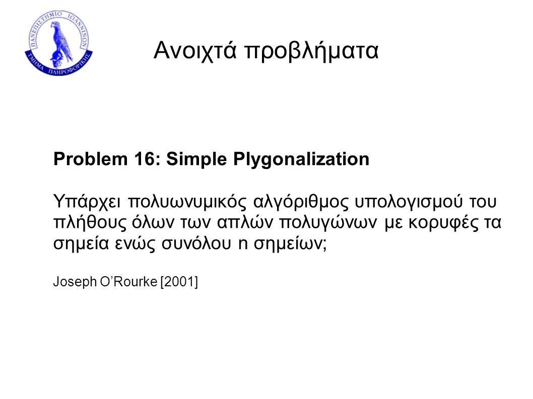 Ανοιχτά προβλήματα Problem 16: Simple Plygonalization Υπάρχει πολυωνυμικός αλγόριθμος υπολογισμού του πλήθους όλων των απλών πολυγώνων με κορυφές τα σημεία ενώς συνόλου n σημείων; Joseph O'Rourke [2001]