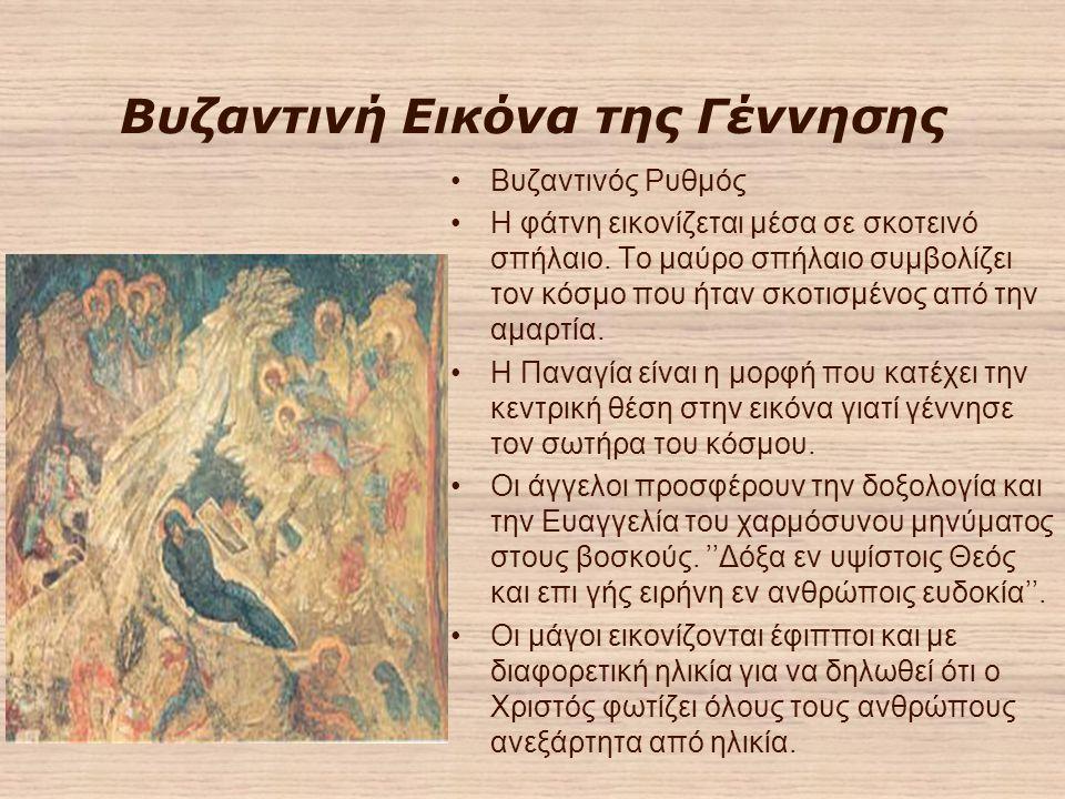 Βυζαντινή Εικόνα της Γέννησης Βυζαντινός Ρυθμός Η φάτνη εικονίζεται μέσα σε σκοτεινό σπήλαιο.