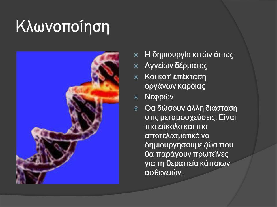 Κλωνοποίηση  Η δημιουργία ιστών όπως:  Αγγείων δέρματος  Και κατ επέκταση οργάνων καρδιάς  Νεφρών  Θα δώσουν άλλη διάσταση στις μεταμοσχεύσεις.