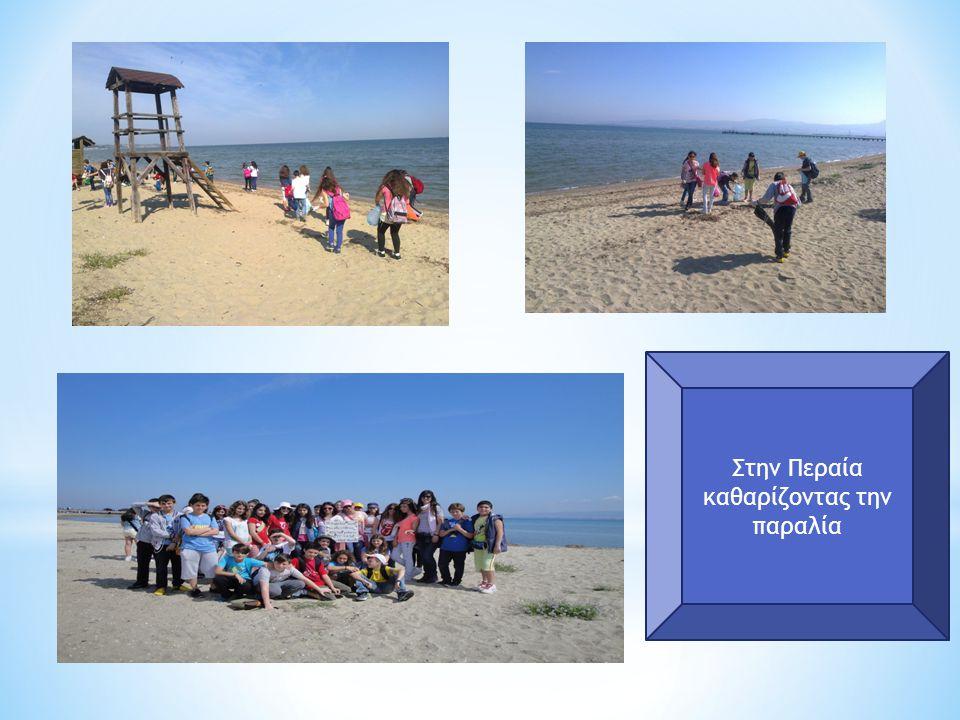 Στην Περαία καθαρίζοντας την παραλία