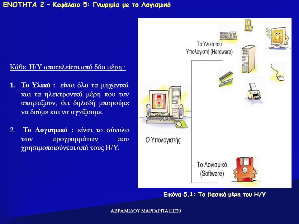 ΕΝΟΤΗΤΑ 2 – Κεφάλαιο 5: Γνωριμία με το Λογισμικό Εικόνα 5.1: Τα βασικά μέρη του Η/Υ Κάθε Η/Υ αποτελείται από δύο μέρη : 1.Το Υλικό : είναι όλα τα μηχανικά και τα ηλεκτρονικά μέρη που τον απαρτίζουν, ότι δηλαδή μπορούμε να δούμε και να αγγίξουμε.