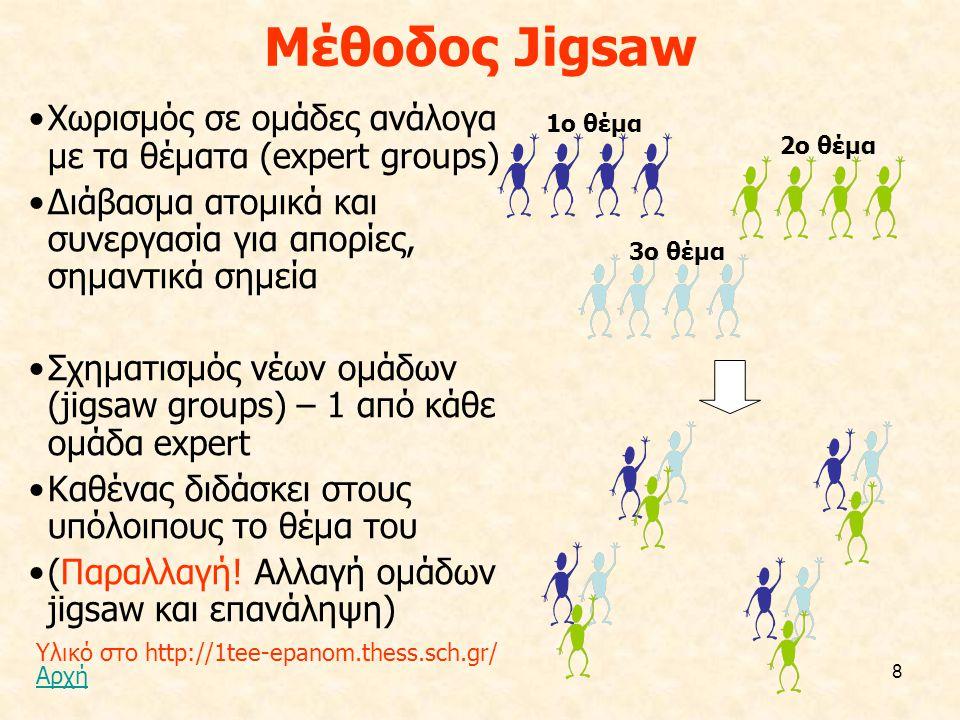 8 Μέθοδος Jigsaw Χωρισμός σε ομάδες ανάλογα με τα θέματα (expert groups) Διάβασμα ατομικά και συνεργασία για απορίες, σημαντικά σημεία Σχηματισμός νέω