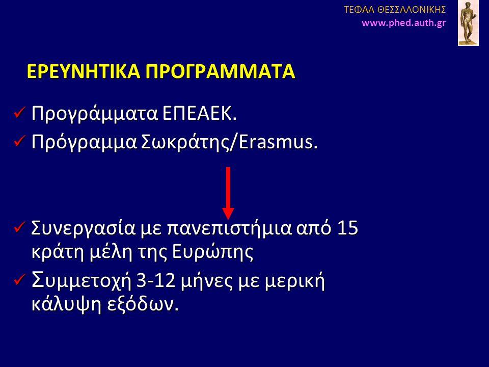 EΡΕΥΝΗΤΙΚΑ ΠΡΟΓΡΑΜΜΑΤΑ Προγράμματα ΕΠΕΑΕΚ. Προγράμματα ΕΠΕΑΕΚ. Πρόγραμμα Σωκράτης/Erasmus. Πρόγραμμα Σωκράτης/Erasmus. Συνεργασία με πανεπιστήμια από