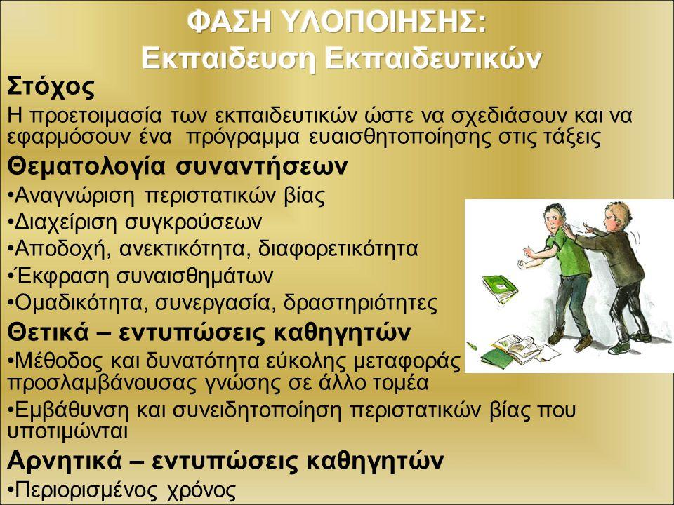 Στόχοι: αναγνώριση μορφών σχολικού εκφοβισμού (συναισθήματα, αίτια, αποτελέσματα, αντιμετώπιση) Θεματολογία συναντήσεων 1η συνάντηση: γνωριμία - σύνταξη συμβολαίου -καταιγισμός ιδεών σε σχέση με τη λέξη επιθετικότητα – εντυπώσεις από την συνάντηση 2η συνάντηση: σκέψεις προσδοκίες για τη συνάντηση-αναφορά περιστατικών ενδοσχολικής βίας - δραματοποίηση ενός περιστατικού -εντυπώσεις, απολογισμός της συνάντησης 3η – 4η συνάντηση: προσδοκίες, σκέψεις για τη συνάντηση- δραματοποίηση του ίδιου περιστατικού- συζήτηση για τα συναισθήματα, τις πιθανές αιτίες, το τι άλλο θα μπορούσαν να κάνουν οι εμπλεκόμενοι (θύτης – θύμα – κοινό) - Εντυπώσεις από την συνάντηση – κλείσιμο προγράμματος