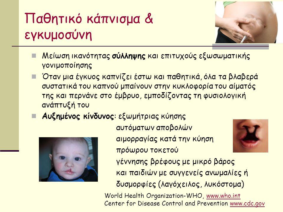 Παθητικό κάπνισμα & εγκυμοσύνη Μείωση ικανότητας σύλληψης και επιτυχούς εξωσωματικής γονιμοποίησης Όταν μια έγκυος καπνίζει έστω και παθητικά, όλα τα βλαβερά συστατικά του καπνού μπαίνουν στην κυκλοφορία του αίματός της και περνάνε στο έμβρυο, εμποδίζοντας τη φυσιολογική ανάπτυξή του Αυξημένος κίνδυνος: εξωμήτριας κύησης αυτόματων αποβολών αιμορραγίας κατά την κύηση πρόωρου τοκετού γέννησης βρέφους με μικρό βάρος και παιδιών με συγγενείς ανωμαλίες ή δυσμορφίες (λαγόχειλος, λυκόστομα) World Health Organization-WHO, www.who.intwww.who.int Center for Disease Control and Prevention www.cdc.govwww.cdc.gov