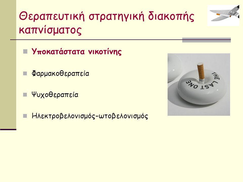 Θεραπευτική στρατηγική διακοπής καπνίσματος Υποκατάστατα νικοτίνης Φαρμακοθεραπεία Ψυχοθεραπεία Ηλεκτροβελονισμός-ωτοβελονισμός